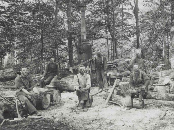 Steam powered wood splitter in Lowville