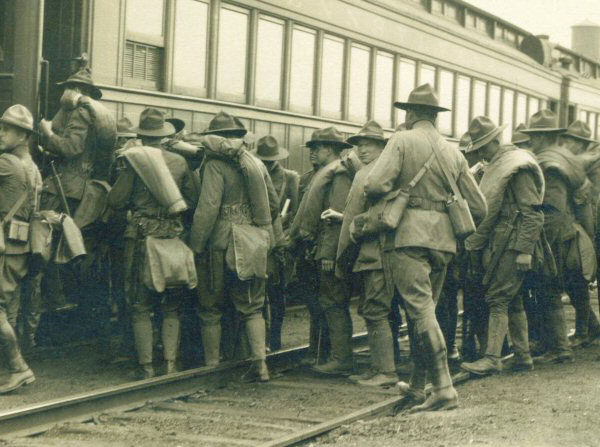 Young soldiers leave for World War I on the railroad in Saranac Lake