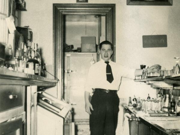 Francis Desotelle behind the bar of the Elks Lodge in Plattsburgh