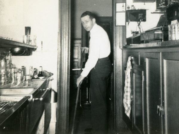 A bartender cleaning up at the Elks Lodge in Plattsburgh