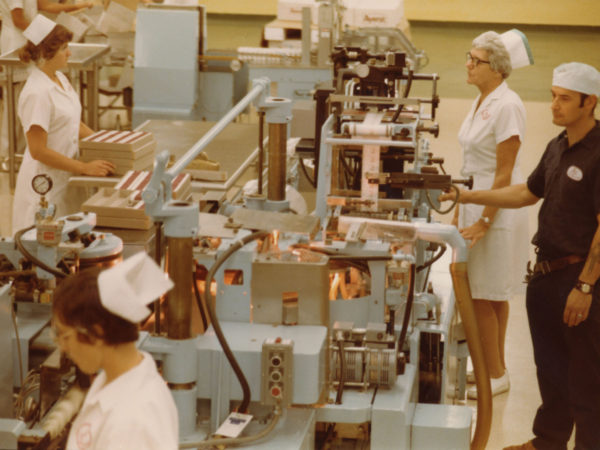 Workers on the packaging line at Wyeth-Ayerst Laboratories in Rouses Point