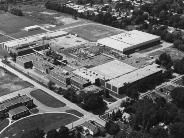 An aerial view of the old Wyeth-Ayerst Laboratories manufacturing plant