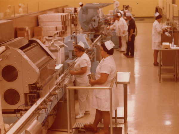 Women on the filling line at Wyeth-Ayerst Laboratories in Rouses Point