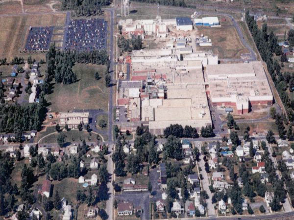 Aerial view of Wyeth-Ayerst Laboratories in Rouses Point