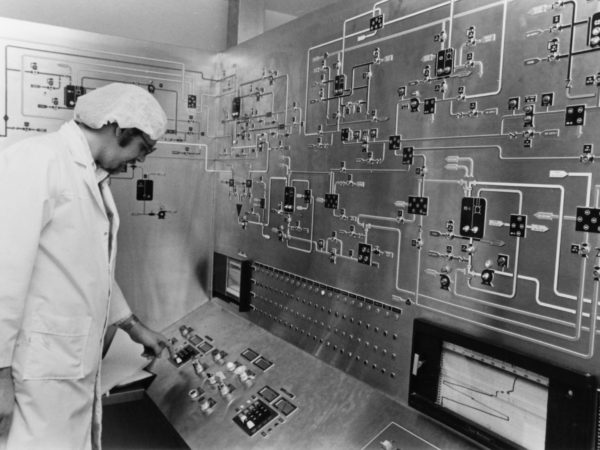 Operating a board at Wyeth-Ayerst Laboratories in Rouses Point