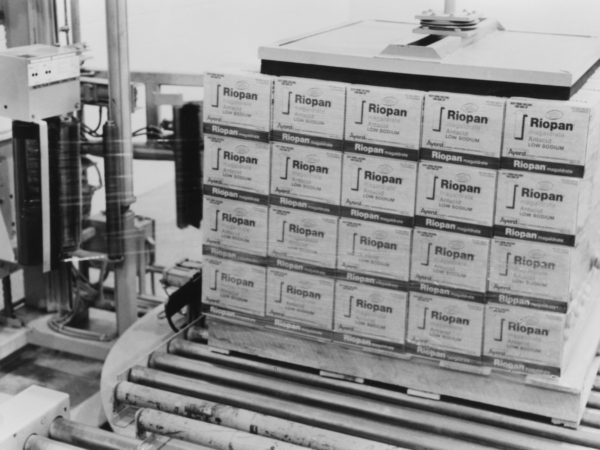 Pallets of Riopan at Wyeth-Ayerst Laboratories in Rouses Point