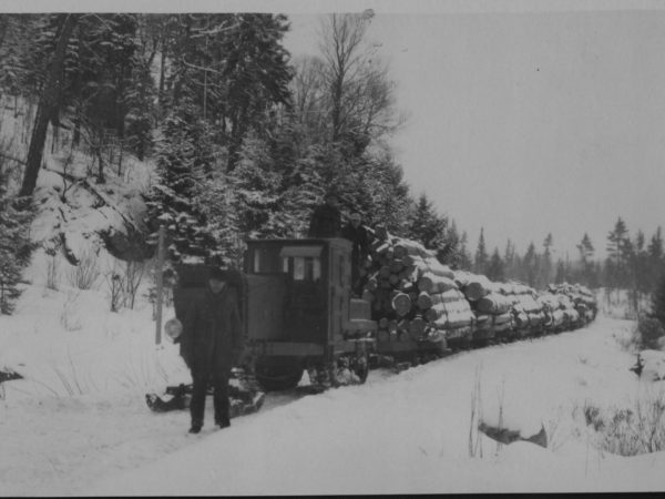 Winter logging with a Linn tractor in Tupper Lake