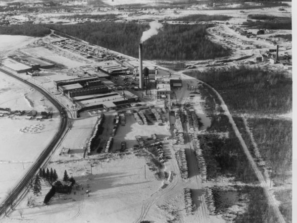 Aerial view of the Oval Wood Dish Company in Tupper Lake