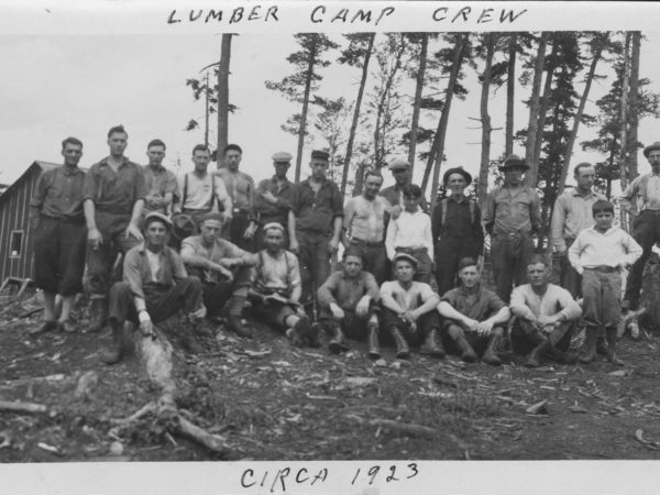 A lumber camp crew in Tupper Lake
