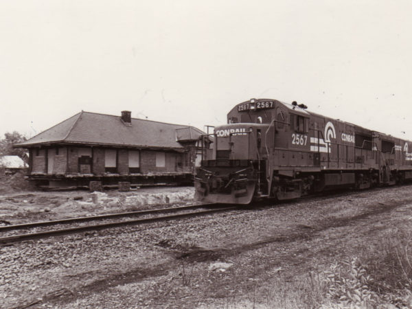 Train outside of the Potsdam Depot in Potsdam, NY