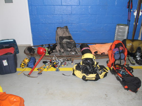 Mountain rescue equipment used by a search and rescue team