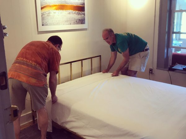 Making a bed at the Deer's Head Inn in Elizabethtown