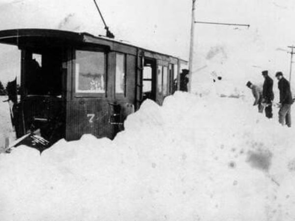 A snowbound trolley running from Redwood to Alexandria Bay