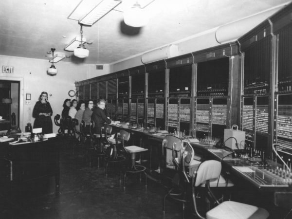 The switchboard in the telephone office in Alexandria Bay
