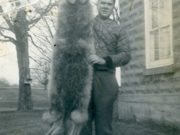 Trapper posing with a red coyote pelt in Morristown