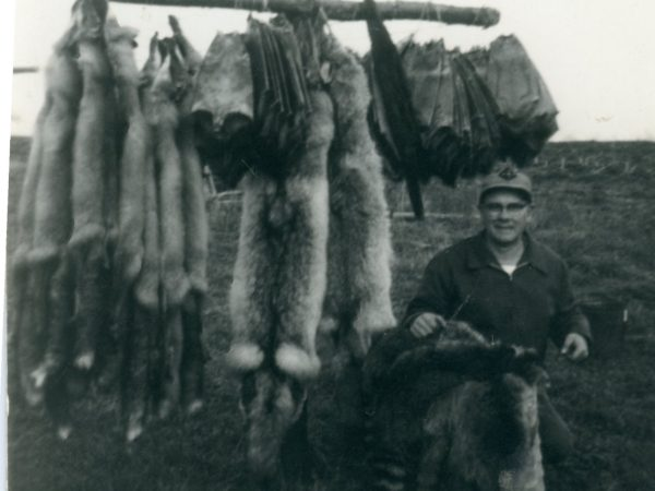 Trapper Roy Johnson with a rack of pelts in Philadelphia