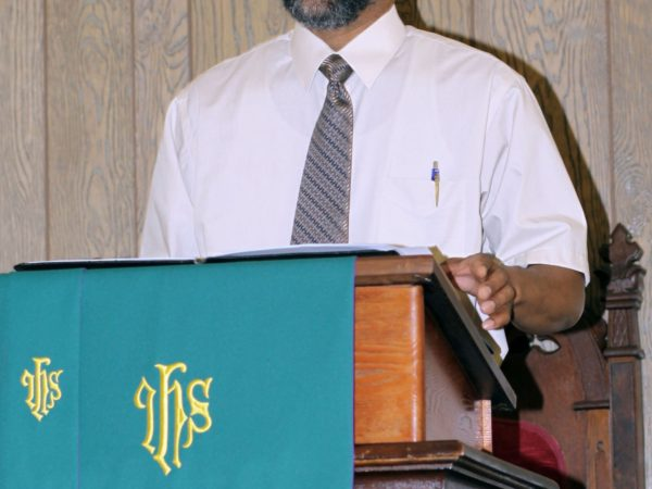 Reverend Fred Shaw at the Pulpit in Elizabethtown