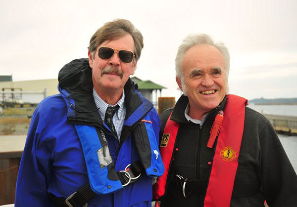 Seaway pilots Roger Paulus and Don Metzger on the St. Lawrence River