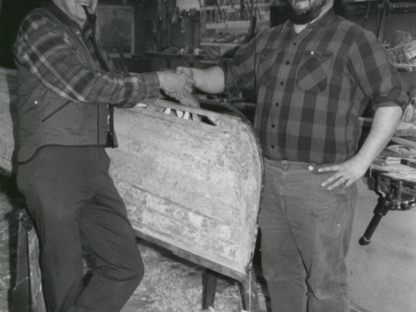 Guideboat builders Carl Hathaway and Chris Woodward in Saranac Lake