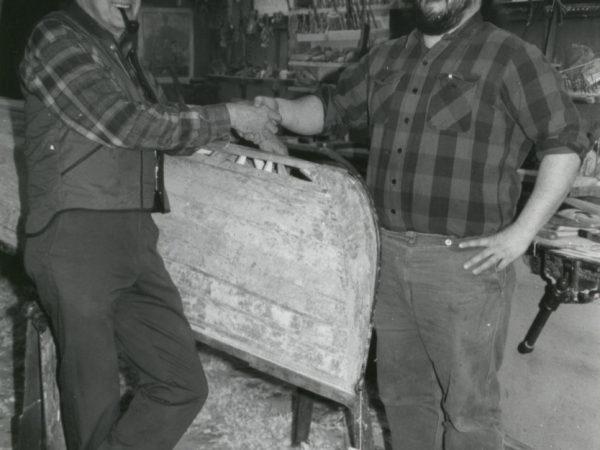 Guideboat builders Carl Hathaway and Chris Woodward in Saranac Lake