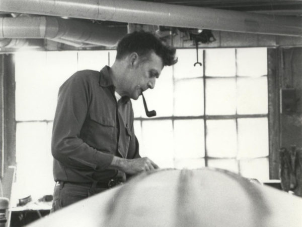 Guideboat builder Carl Hathaway in Hathaway's Boat Shop