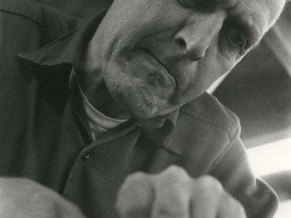 Carl Hathaway working in Hathaway's Boat Shop in Saranac Lake