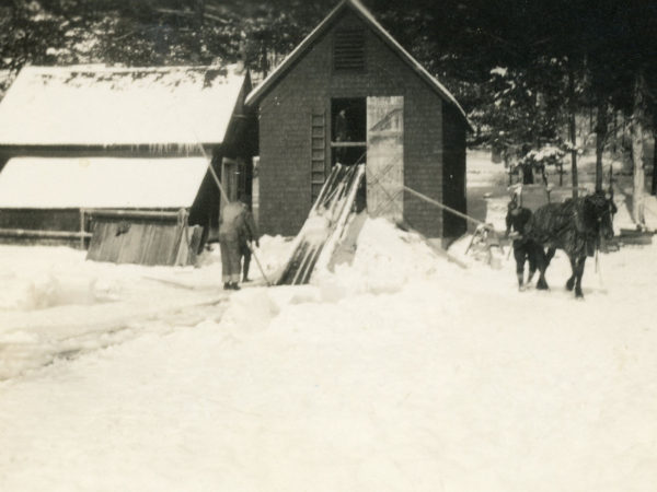 Stocking the ice house at the Buster Crab camp in Onchiota