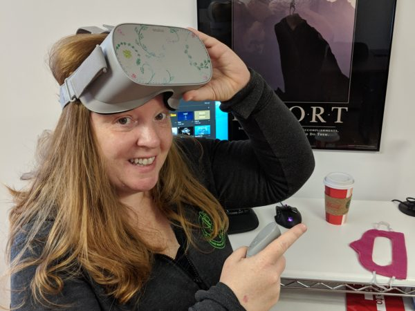 Monica Peters with a VR headset in Akwesasne