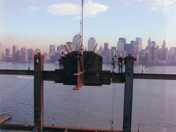 Mohawk ironworkers look out over the NYC skyline
