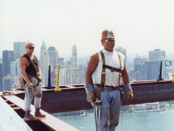 Akwesasne's Darryl Lazore and his partner on the Goldman Sachs Tower