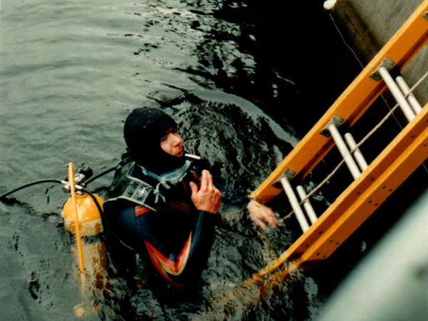 Darren Tracy diving for Lake Flower Dam gate repair in Saranac Lake