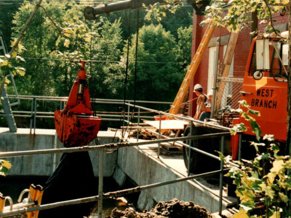 West Branch dredging for Lake Flower Dam gate replacement in Saranac Lake