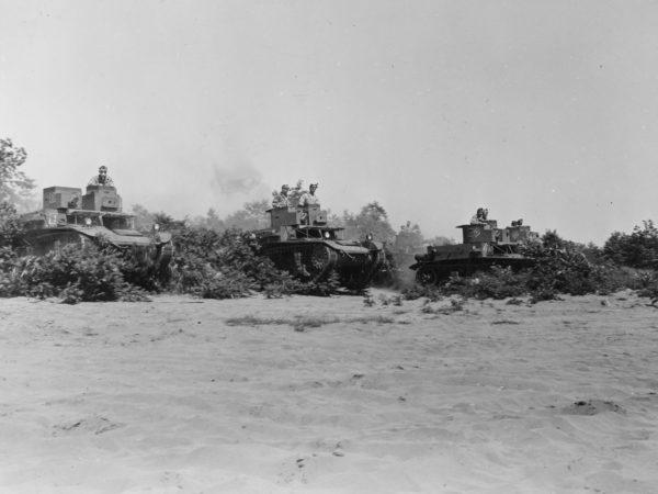 Practicing tank maneuvers at Pine Camp
