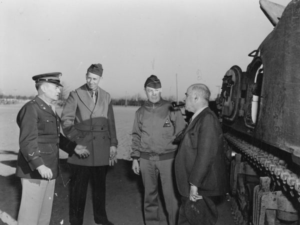 Inspection of the 4th Armored Division at Pine Camp