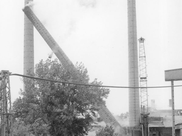 Demolition of cement company smokestack in Glens Falls