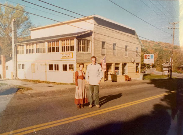 The McCabes in front of Keene General Store in Keene