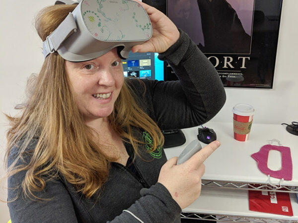 Monica Peters with virtual reality headset