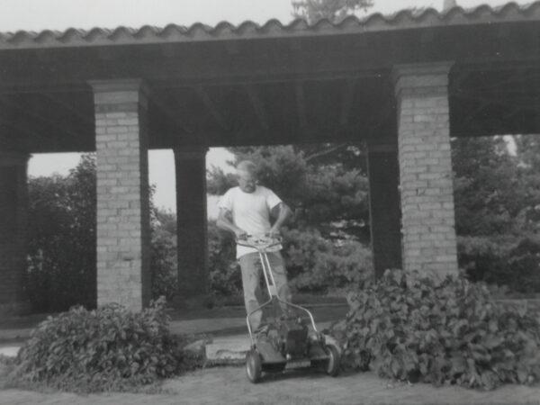 Gerald Heath with push mower